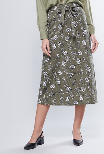 Floral Printed A-Line Midi Skirt with Tie Up