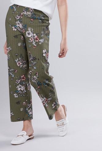 Mid-Rise Floral Printed Pants