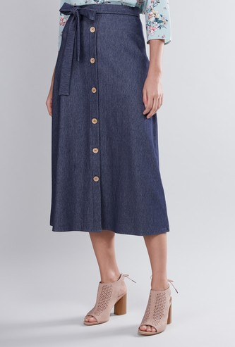 Plain A-Line Midi Skirt with Tie Ups and Button Detail