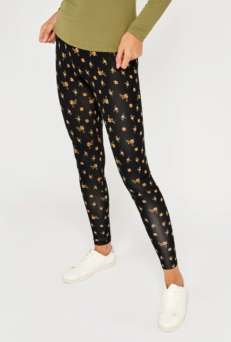 Printed Mid-Rise Leggings with Elasticised Waistband