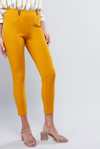 Solid Trousers with Cropped Hem and Button Accent