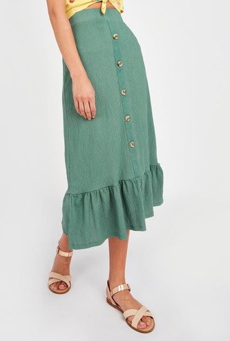 Crinkled Midi Skirt with Ruffled Hem