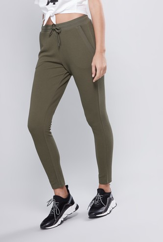Plain Trousers with Elasticised Waistband with Pocket Detail