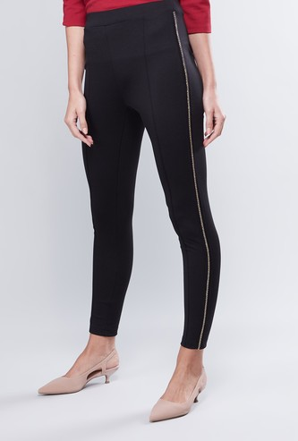 High Rise Leggings with Chain Detail and Elasticised Waistband