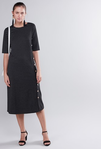 Striped Round Neck Midi Dress with Elbow Sleeves