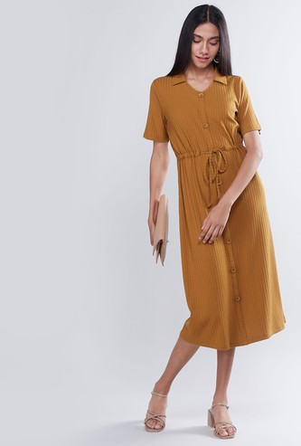 Ribbed Midi Shirt Dress with Short Sleeves and Tie Up
