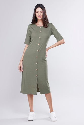 Textured Midi A-line Dress with Button Detail