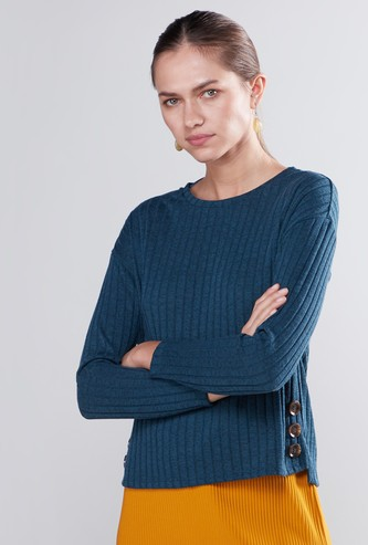 Textured T-shirt with High Low Hem and Long Sleeves