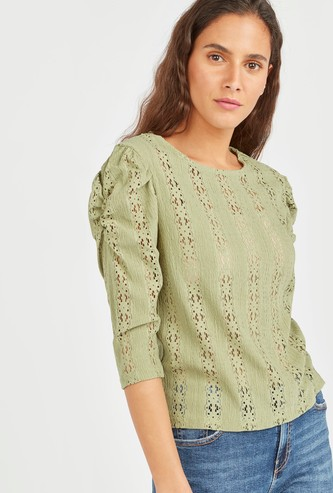 Textured Round Neck Top with Cutwork Design and Ruched Detail