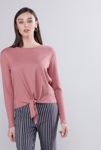 Round Neck Ribbed Top with Long Sleeves