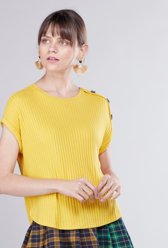 Ribbed Round Neck Top with Button Accent