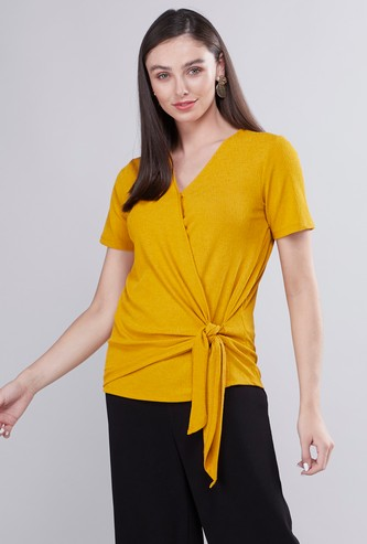 Textured Wrapover Top with Tie Detail and Short Sleeves