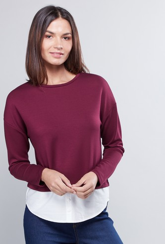 Solid 2-in-1 Ponte T-shirt with Long Sleeves
