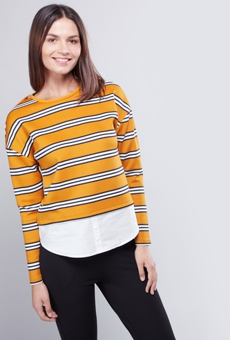 Striped 2-in-1 T-shirt with Round Neck and Long Sleeves