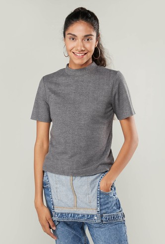 Solid High Neck T-shirt with Short Sleeves
