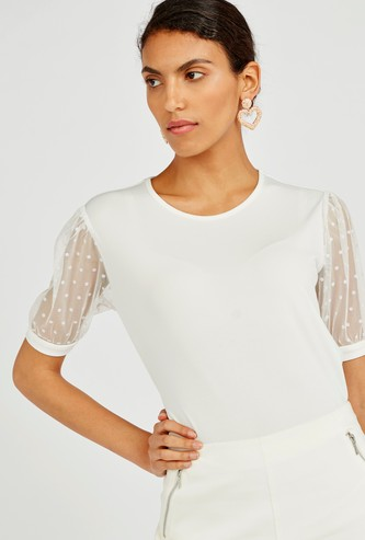 Solid Top with Round Neck and Mesh Sleeves