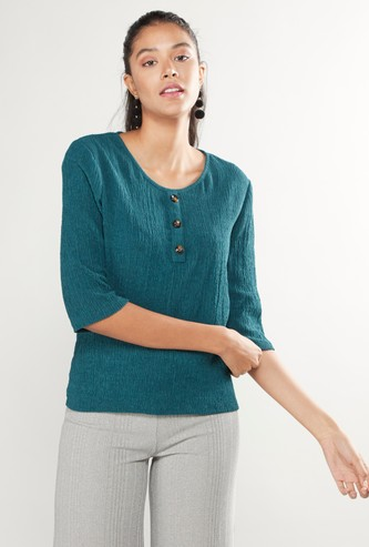 Textured Henley Neck Top with 3/4 Sleeves