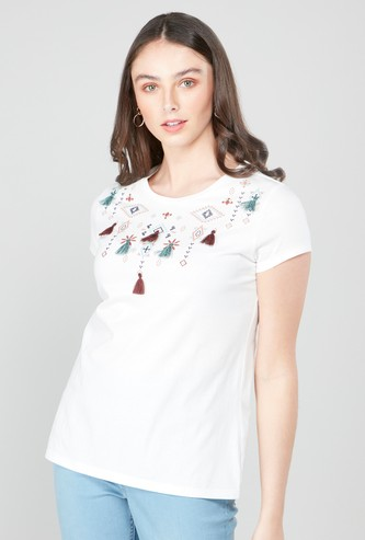 Embroidered T-shirt with Tassel Detail and Short Sleeves