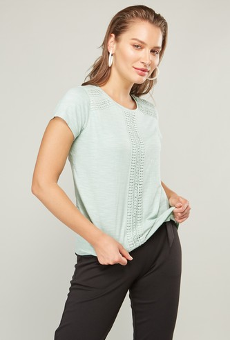 Lace Detail T-shirt with Short Sleeves