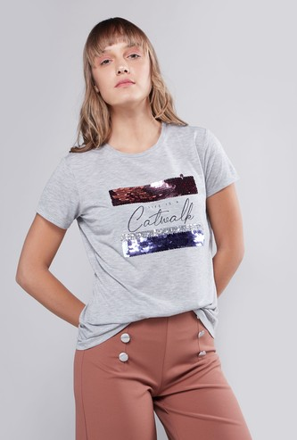 Printed Tee with Round Neck and Short Sleeves