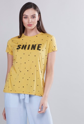 Bead Embellished Round Neck T-shirt with Short Sleeves