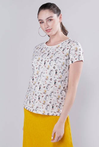 Looney Tunes Printed T-shirt with Round Neck and Short Sleeves