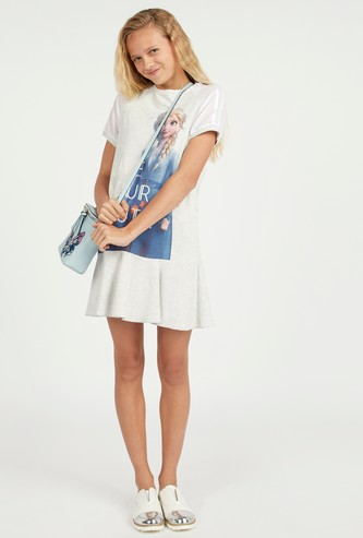 Elsa Print Dress with Round Neck and Short Sleeves