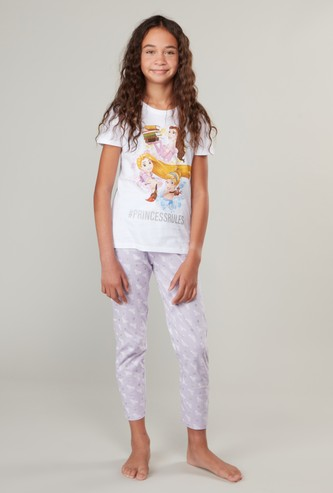 Princess Print Round Neck T-shirt and Pyjama Set