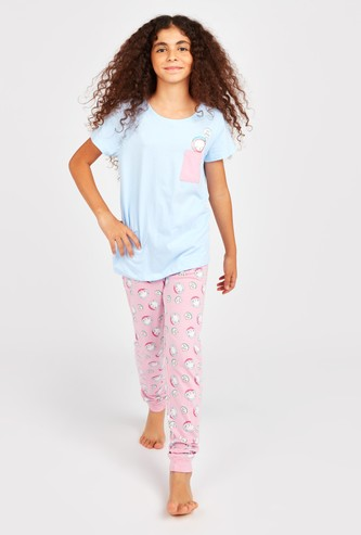 Cat Print Short Sleeves T-shirt and Pyjamas Set