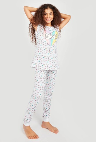 All Over Prints Sleeveless T-shirt and Pyjamas Set