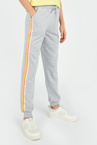 Solid Jog Pants with Pocket Detail and Drawstring