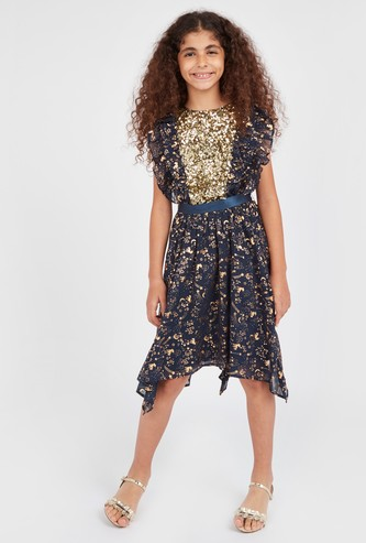 Sequin Detail Dress with Cap Sleeves