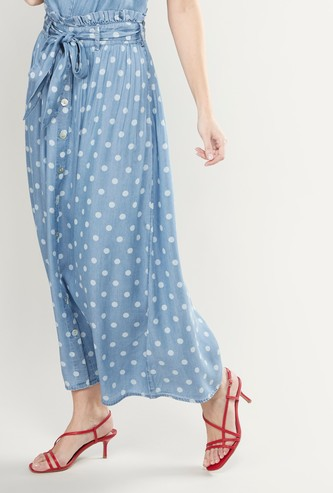 Polka Dot Printed Maxi Skirt with Elasticised Paperbag Waistband
