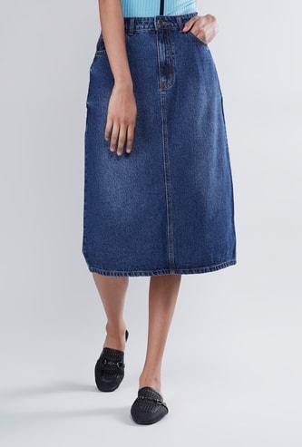 Plain Midi A-line Skirt with Pocket Detail and Back Slit