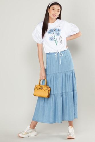 Tiered A-line Denim Midi Skirt