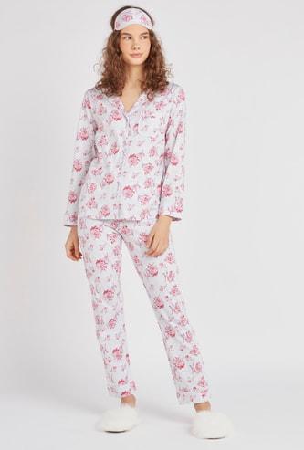 طقم ثياب نوم بطبعات أزهار - 3 قطع