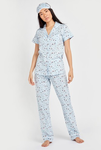 Floral Print 3-Piece Sleepwear Set with Reversible Eye Mask