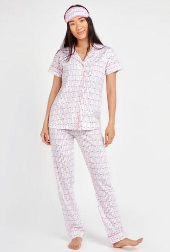 Typographic Print 3-Piece Sleepwear Set with Reversible Eye Mask
