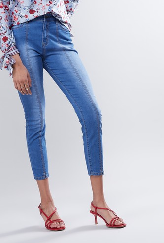 High-Rise Cropped Jeans with Slit