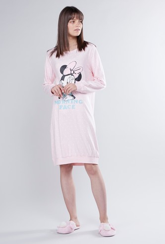 Minnie Mouse Printed Sleepdress with Long Sleeves