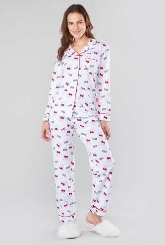 Hello Kitty Prints Long Sleeves Shirt and Pyjama Set