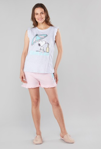 Snoopy Print T-shirt and Shorts