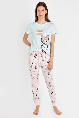 Minnie Mouse Printed Round Neck T-shirt and Pyjama Set