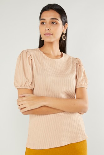 Textured Top with Round Neck and Puff Sleeves