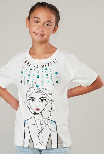 Frozen Print T-shirt with Round Neck and Short Sleeves