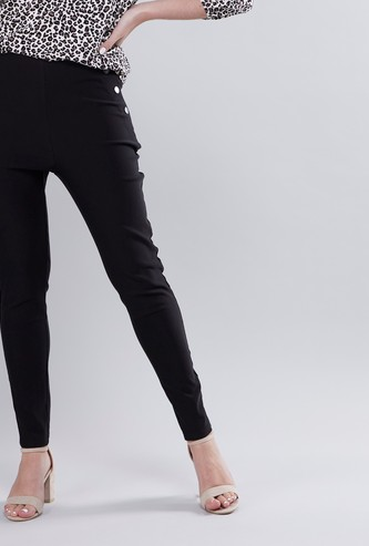 Solid Mid Rise Ankle Length Leggings
