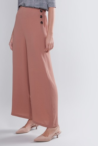Wide Fit Plain Mid Waist Palazzo Pants with Elasticised Waistband