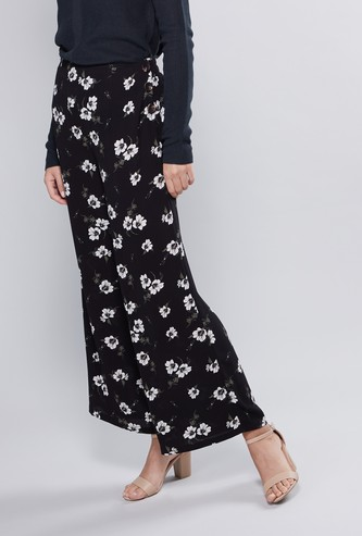 Printed Mid-Rise Palazzo Pants with Button Detail