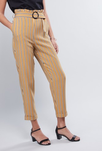 Striped Pants with Pocket Detail and Paper Bag Waist