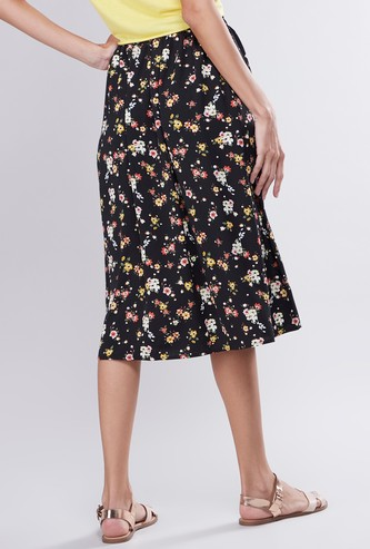 Printed A-line Midi Skirt with Front Button Detail